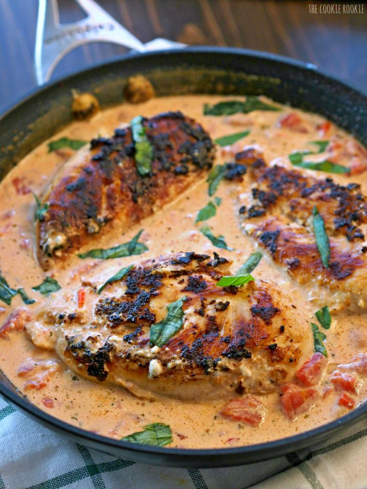 Skillet Basil Cream Chicken 12 Tomatoes