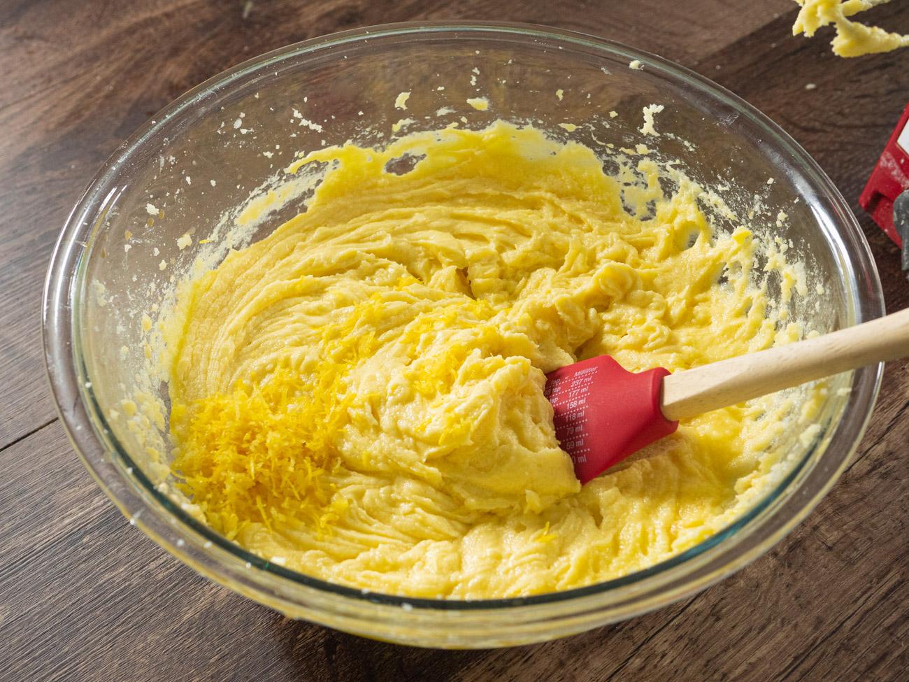 7-Up Pound Cake batter with lemon zest