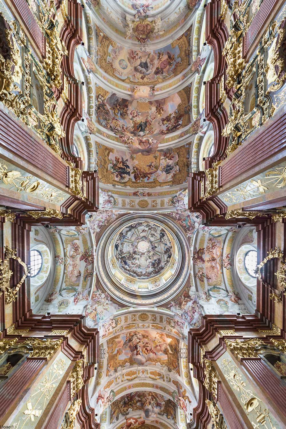 The painted ceiling of the church dome at Melk Abbey