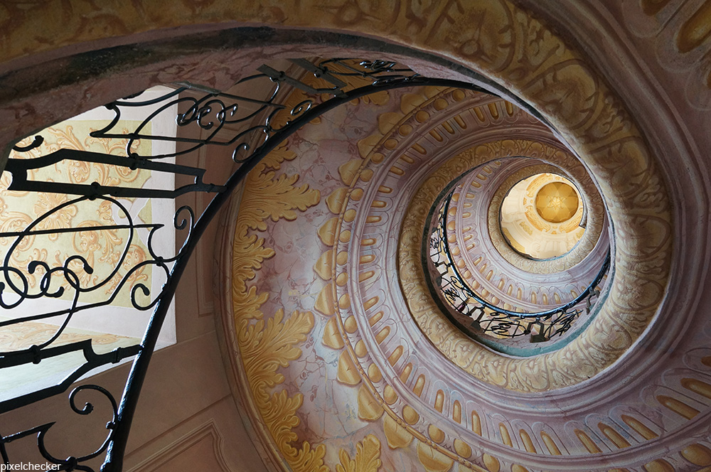Trompe l'oeil spiral staircase at Melk Abbey