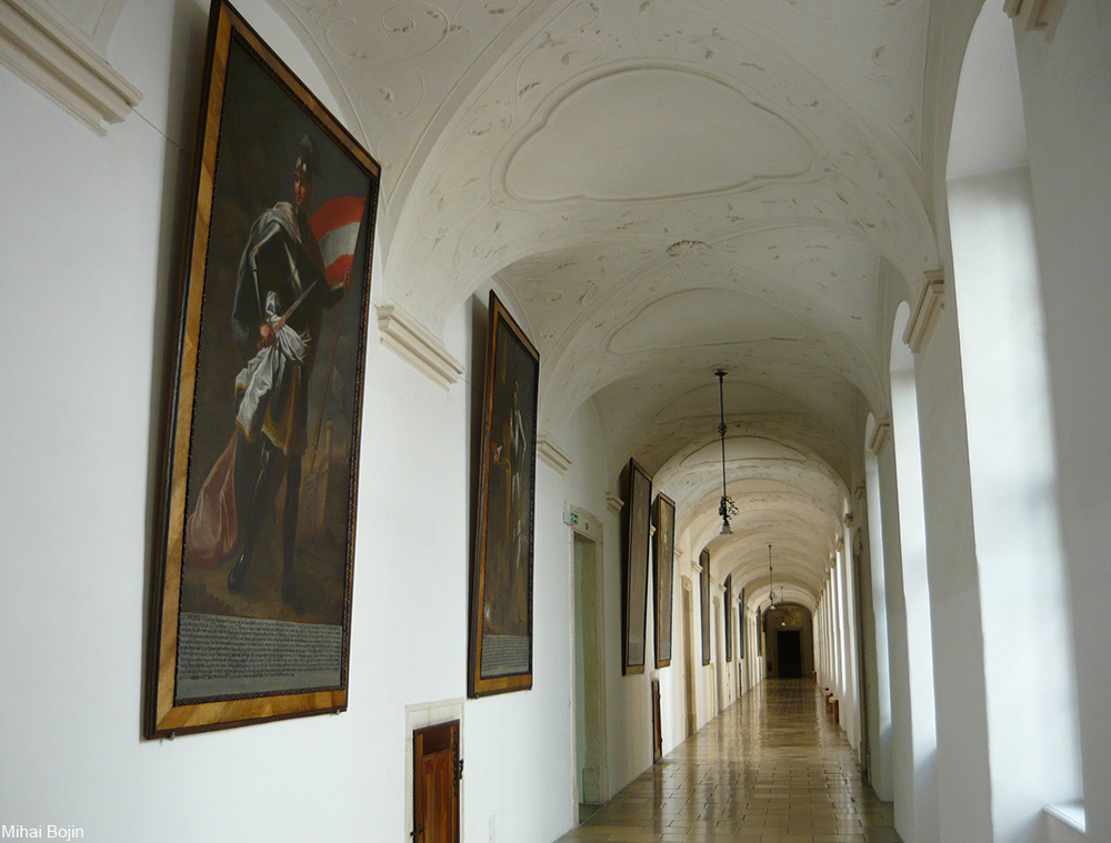 monastery hallways at Melk Abbey