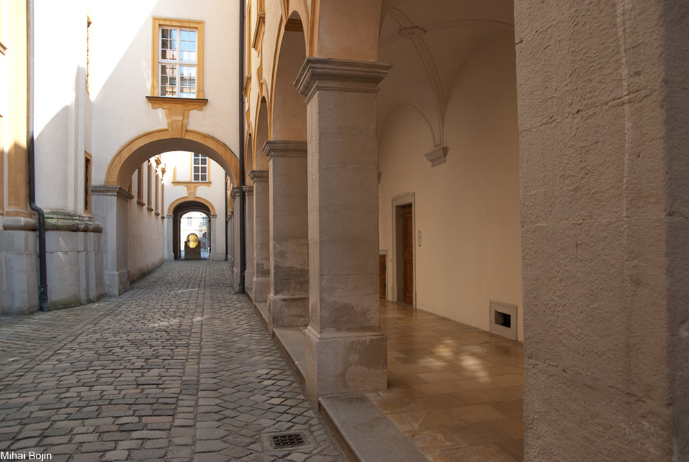 interior courtyard passageway at Melk Abbey