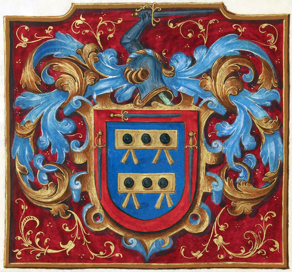 coat of arms granted to Alonso de Mesa and Hernando de Mesa by King Philip II of Spain in the 16th century