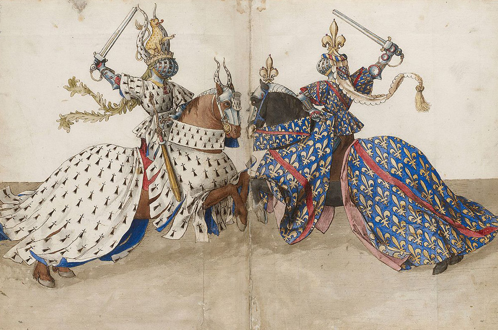 2 knights in heraldry fighting with swords
