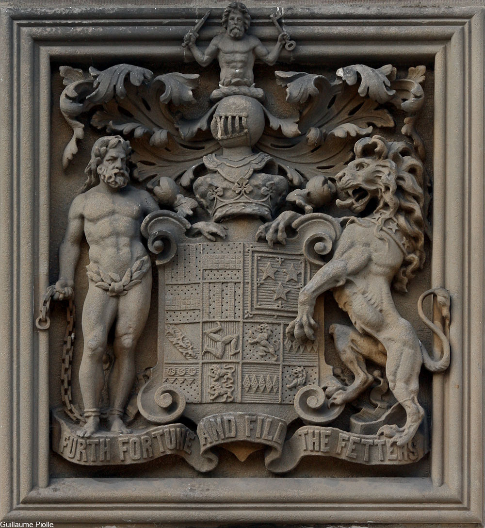 Family crest of the duke of Atholl carved in stone at Blair Castle, Scotland