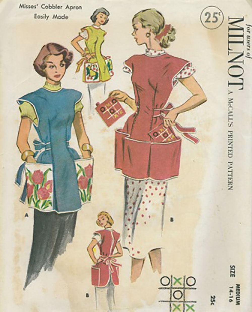 vintage sewing pattern for women's cobbler style aprons