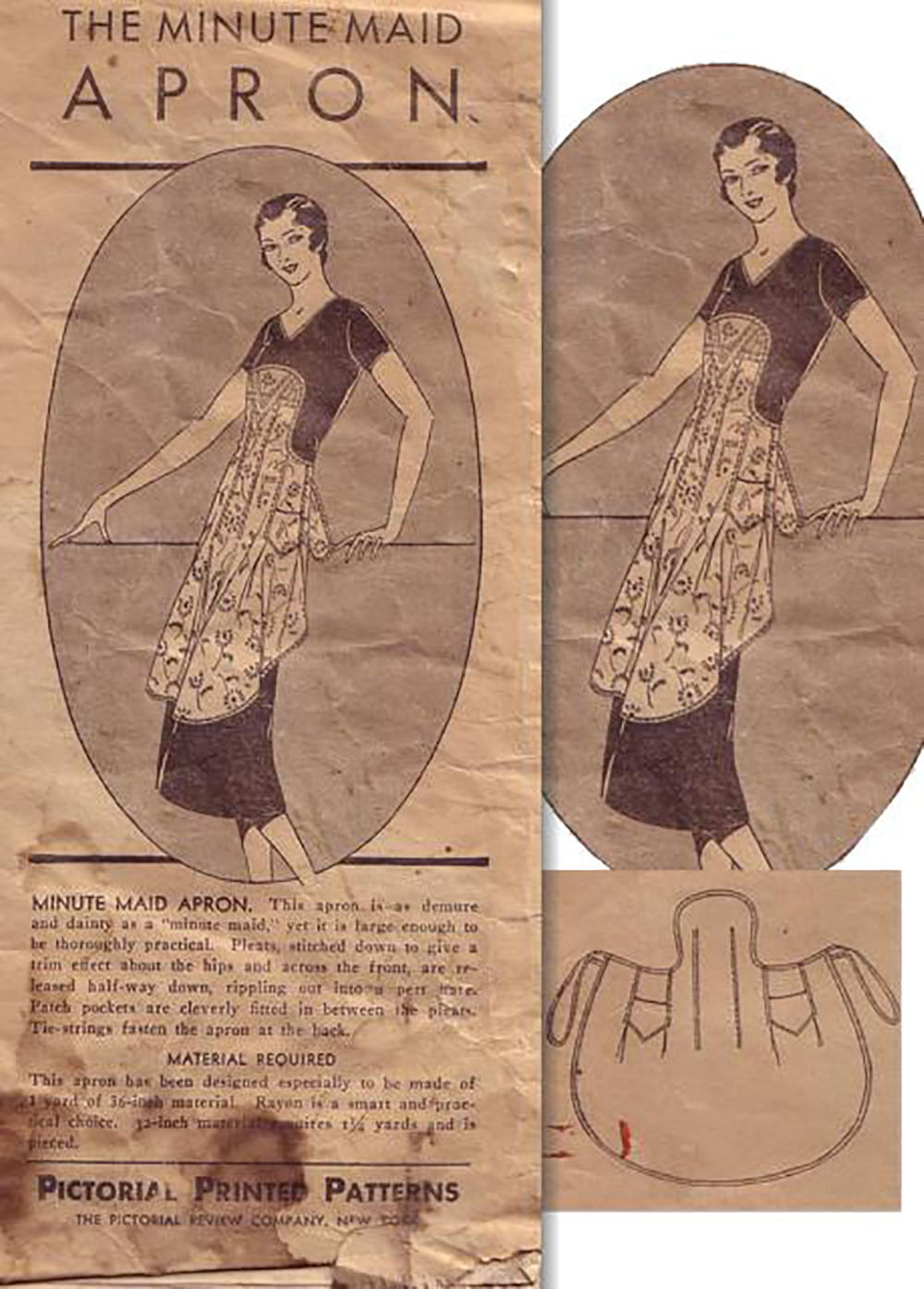 "1920s ""minute maid"" pinafore apron"
