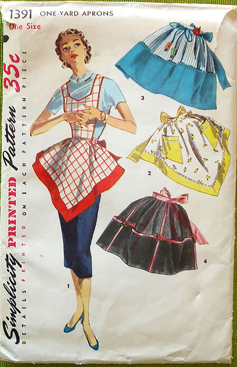 vintage sewing pattern for a handkerchief hem apron