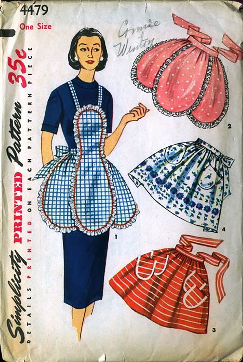 vintage sewing pattern for a scalloped aprons