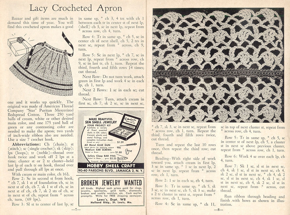 vintage crochet patter for apron