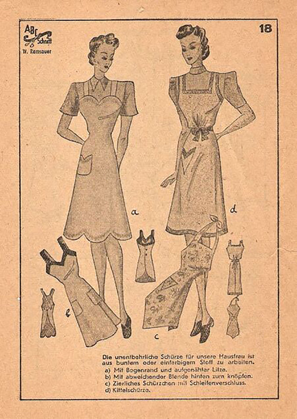 1940s sewing pattern for sweetheart neckline apron
