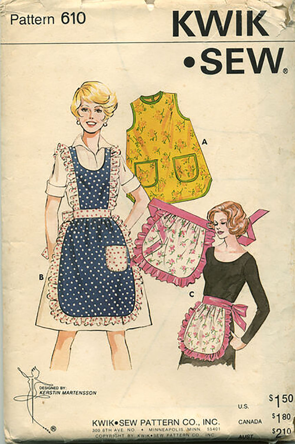 ruffle apron sewing pattern from the 1970s
