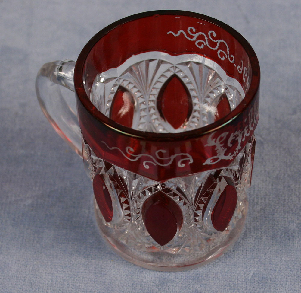 ruby cut to clear glass souvenir mug from the 1904 World's Fair