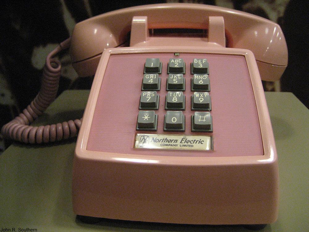 vintage pink telephone