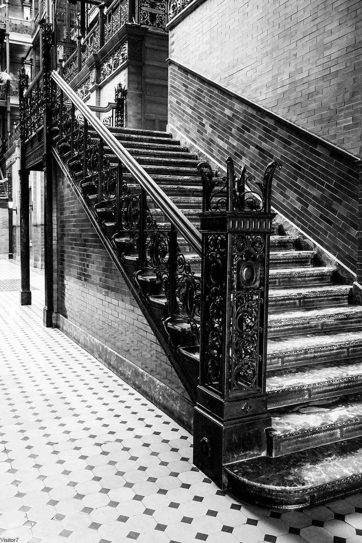 Bradbury Building interior iron staircase railings