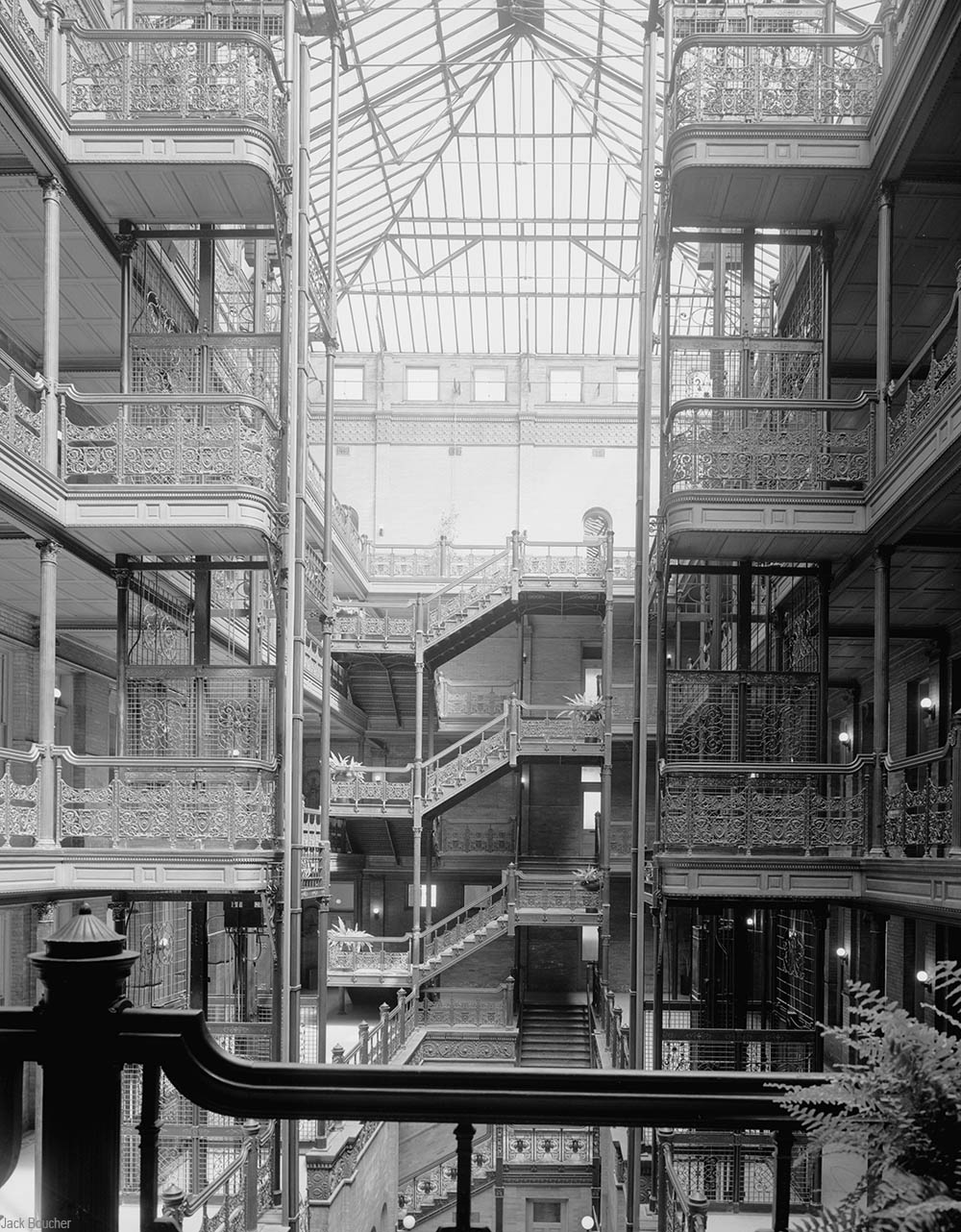 Bradbury Building elevator shafts an, balconies, and staircases