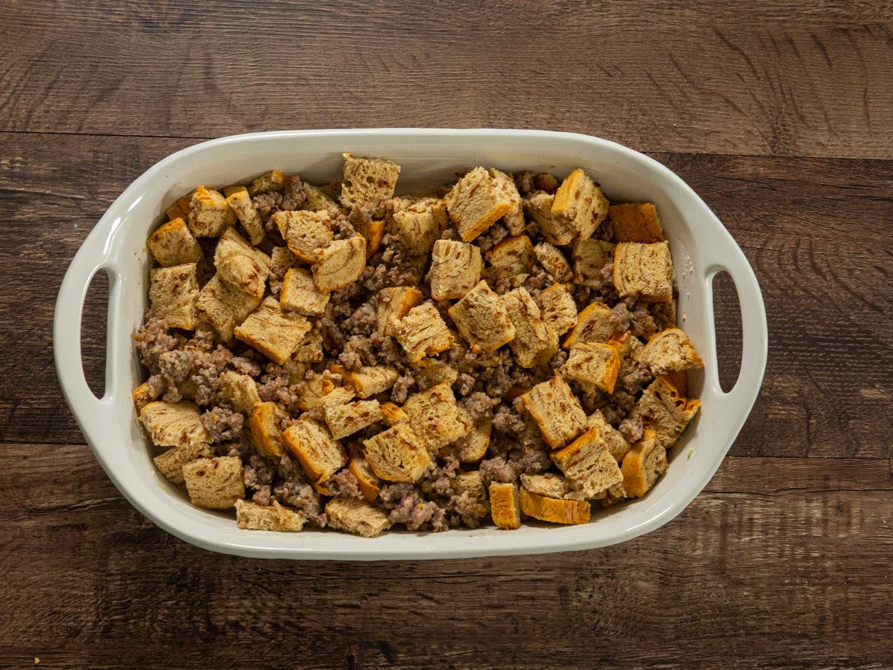 Raisin Bread Sausage Casserole preparation