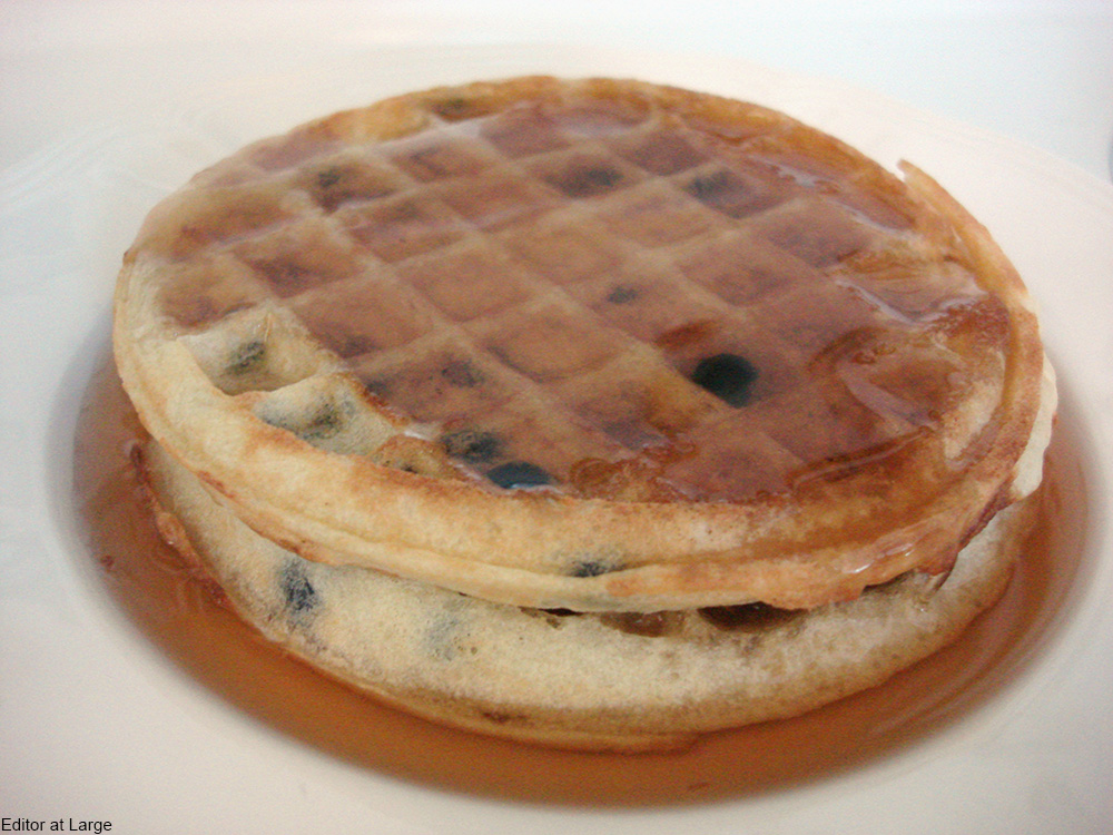 toaster waffles drenched in syrup