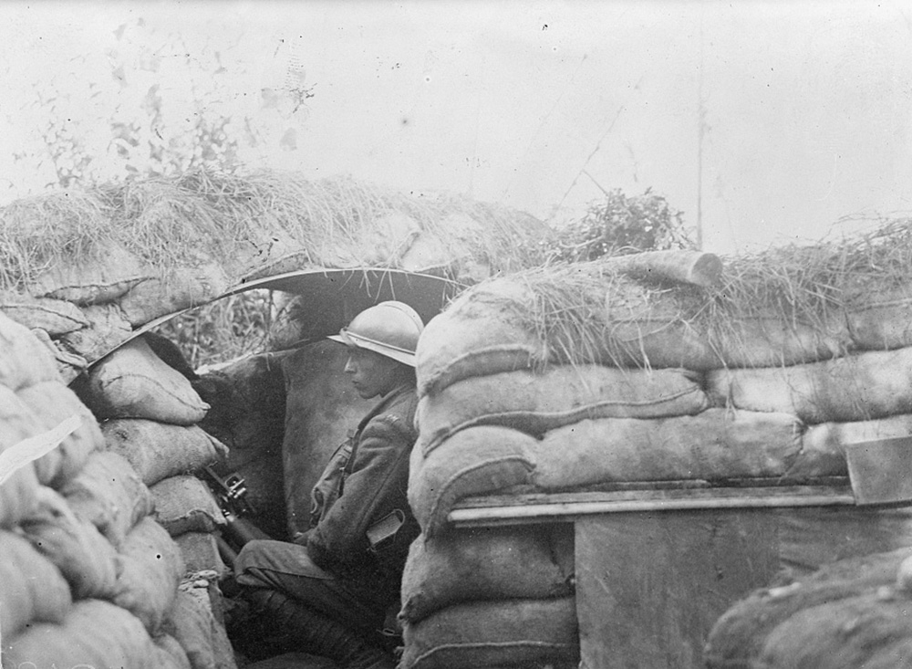 American machine gunner in trenches at Piave during the First World War