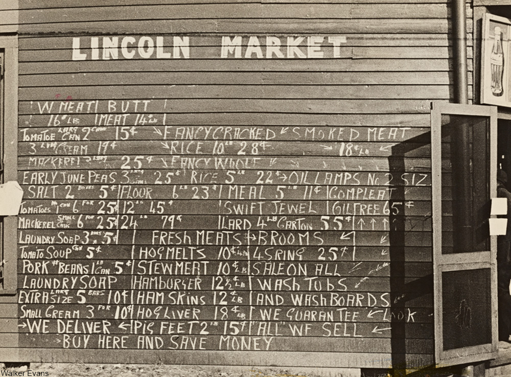 1935 country grocery chalk prices on exterior of building
