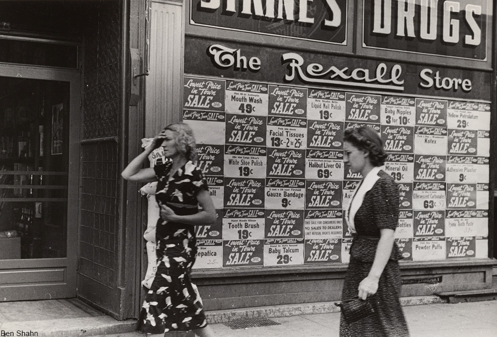 Rexall drugstore window display with prices, 1938