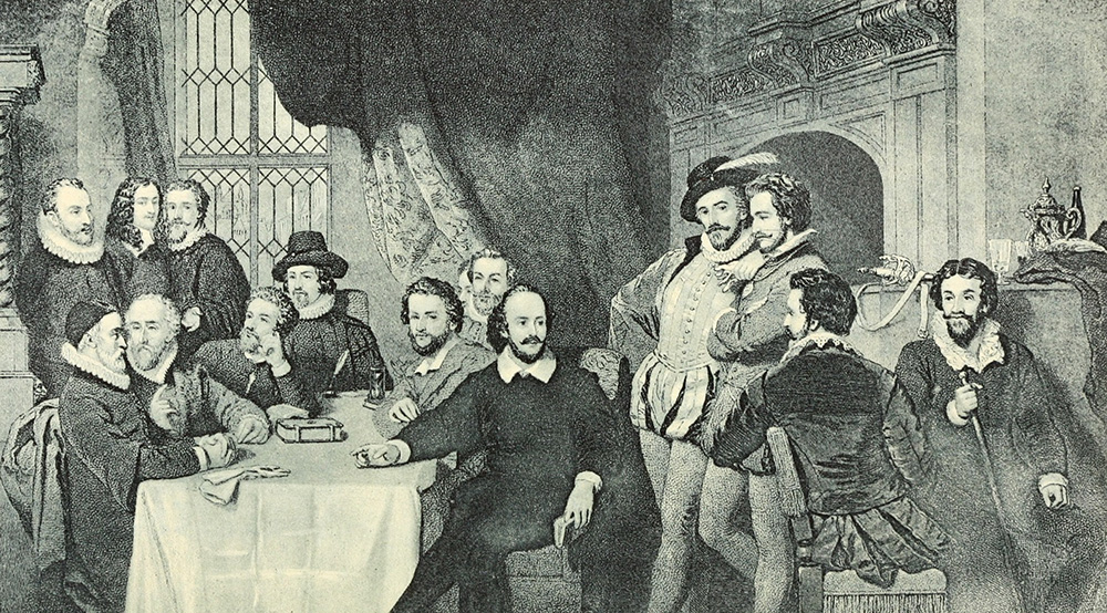 early 1900s engraving of Shakespeare and his associates
