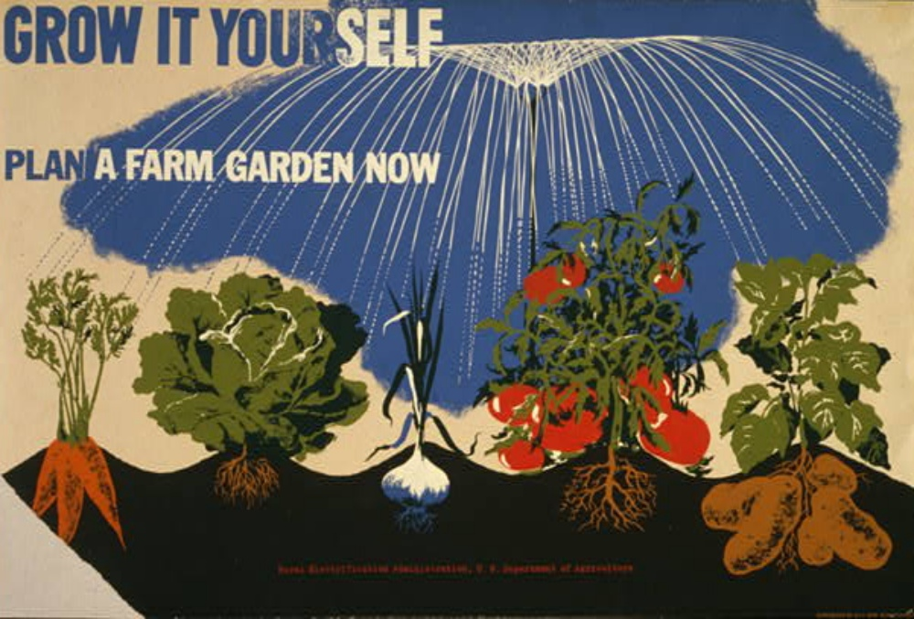 World War II poster encouraging people to grow their own vegetables