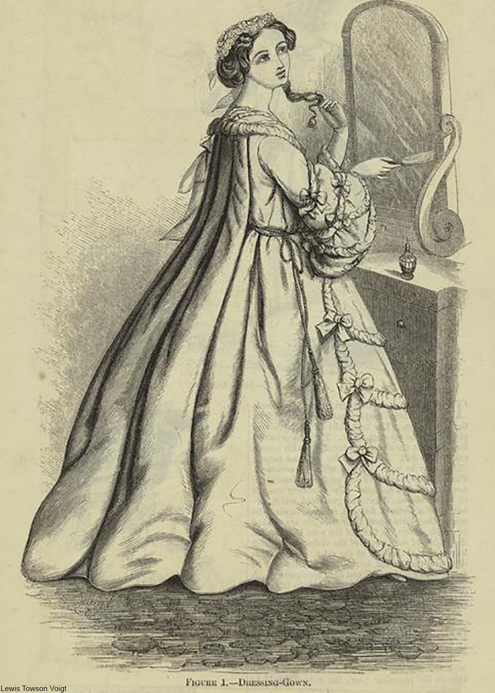 fashion illustration from 1860 showing an elaborate dressing gown