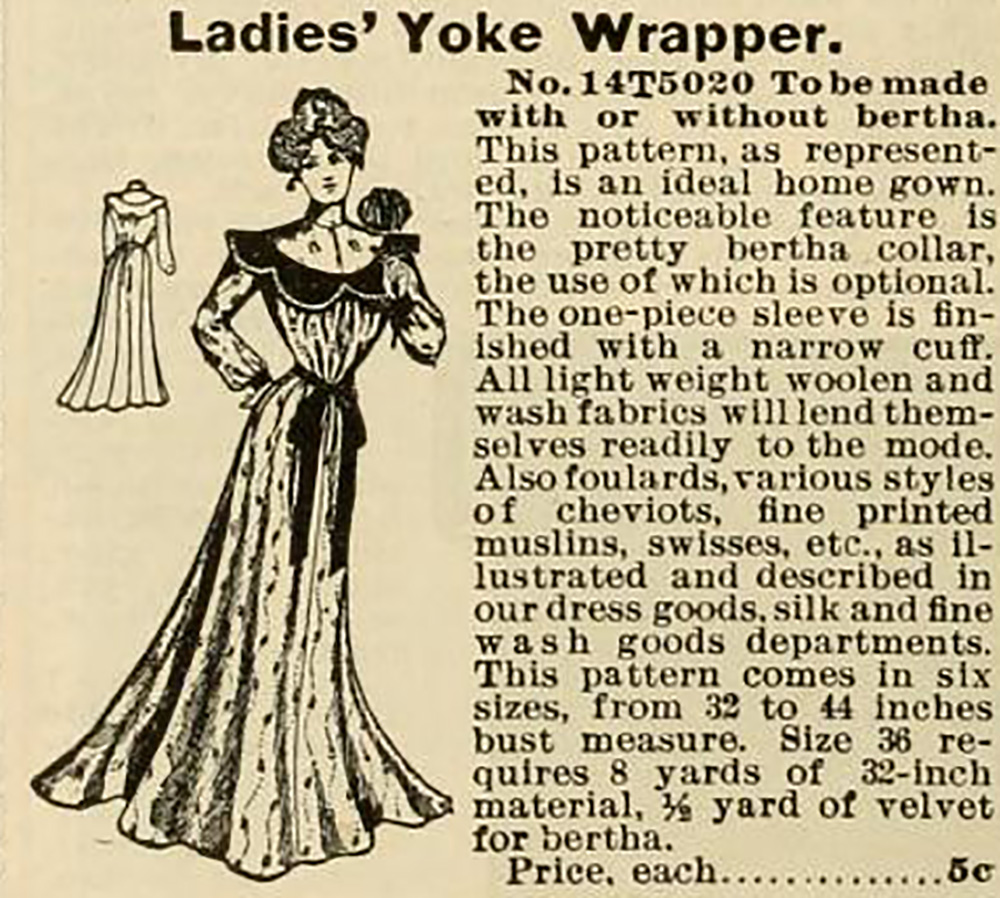 ladies housecoat pattern from circa 1905