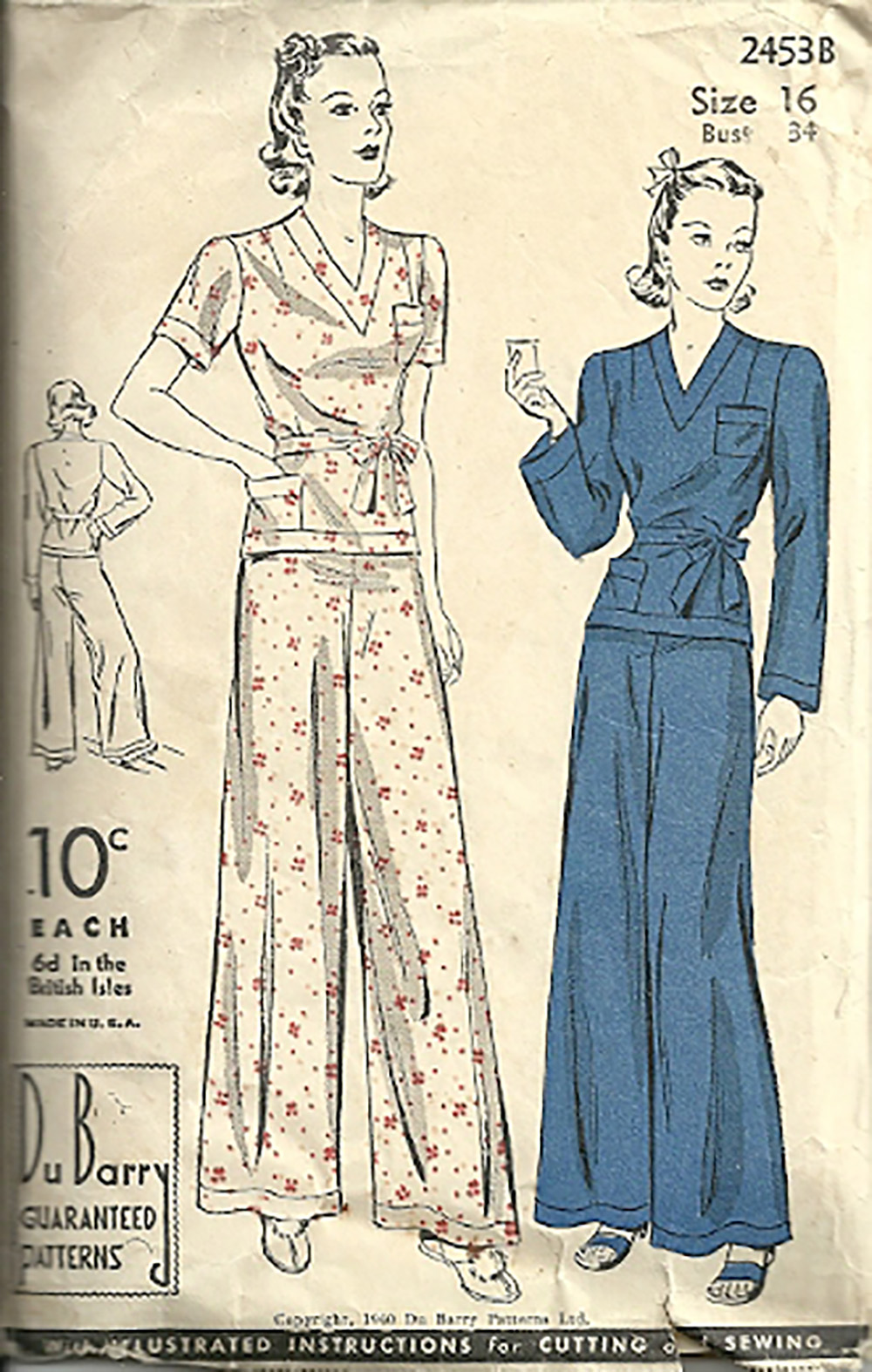 1940s ladies pajama sewing pattern