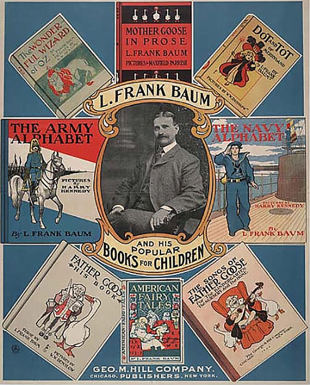 poster of Frank L. Baum and his children's book covers