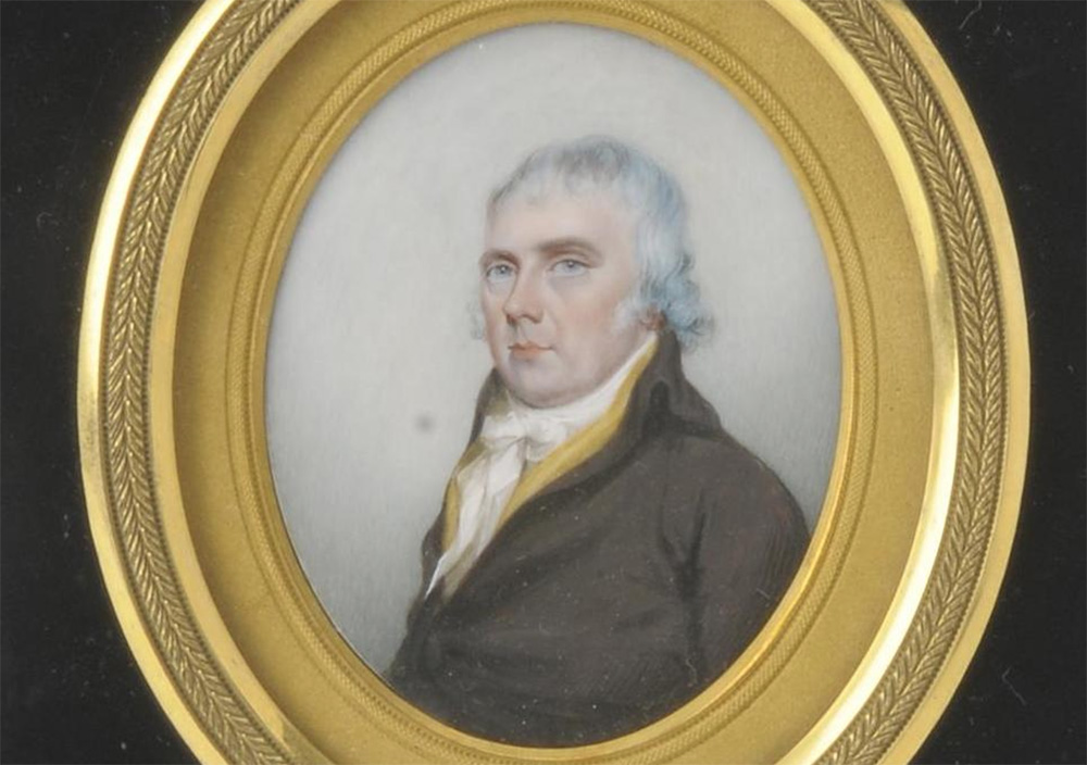 portrait of Josiah Spode rendered in watercolors on ivory
