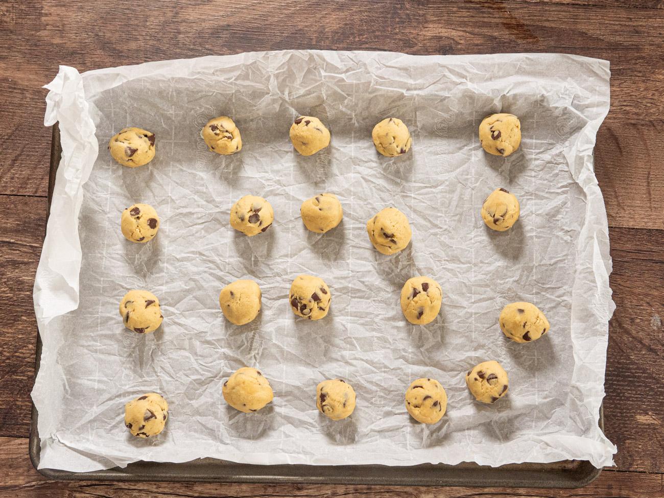 making Cookie Dough Stuffed Chocolate Chip Cookies
