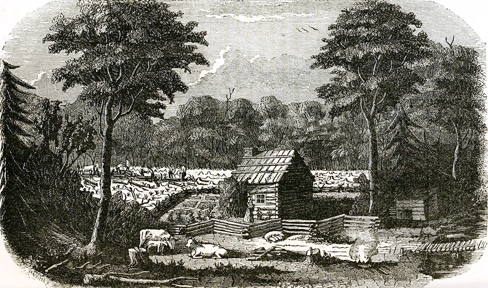 engraving of settler life in New York, early 1800s