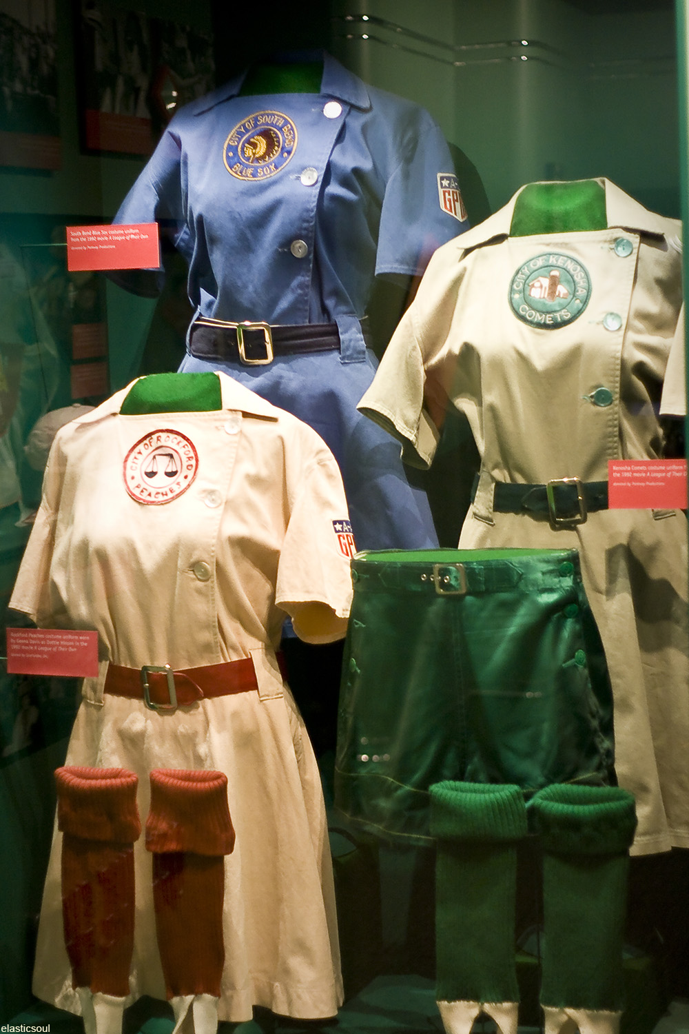 uniforms of the Rockford Peaches, Kenosha Comets, and South Bend Blue Sox