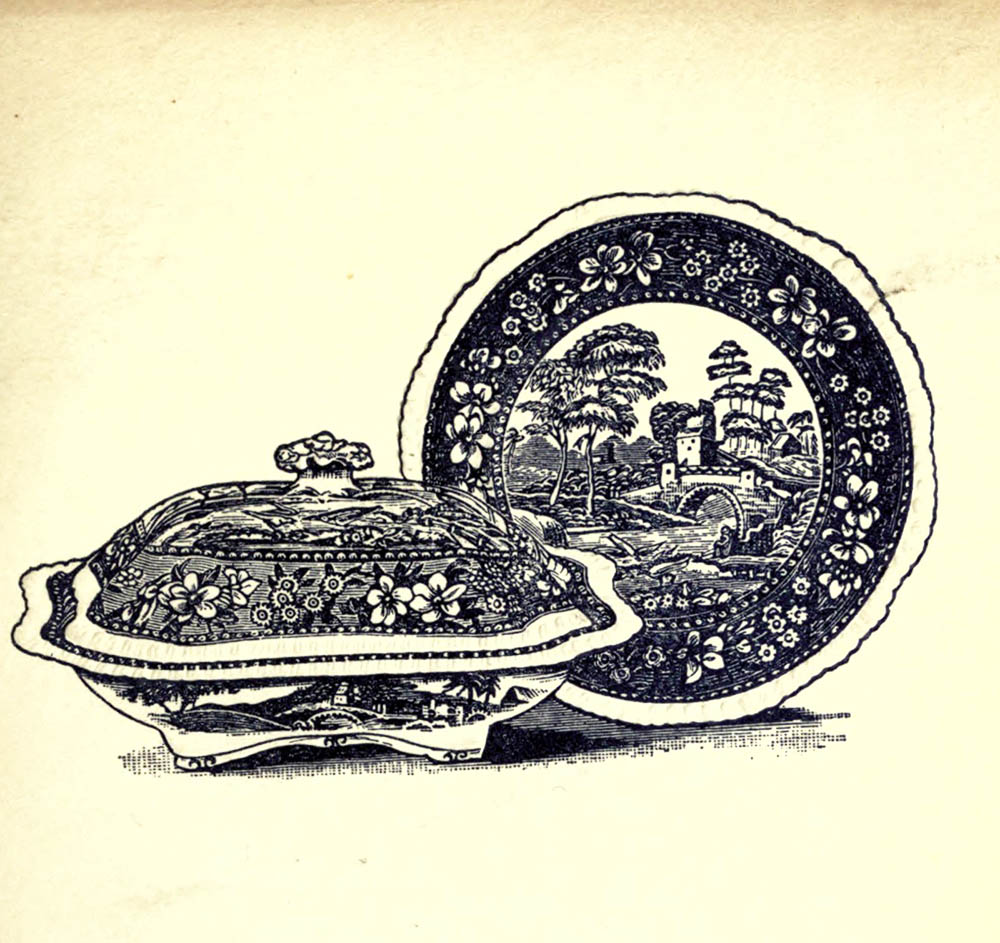 illustration from the early 1900s of Spode china