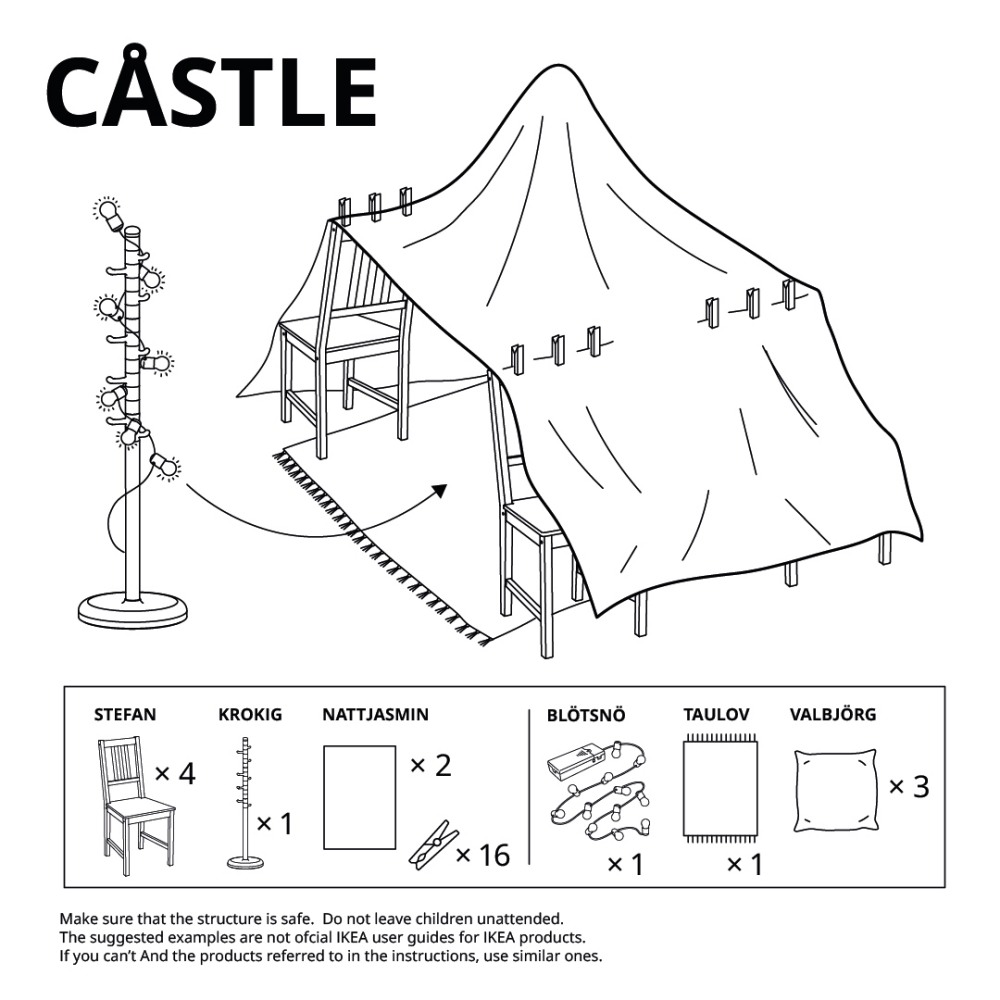 IKEA fortress blanket fort diagram