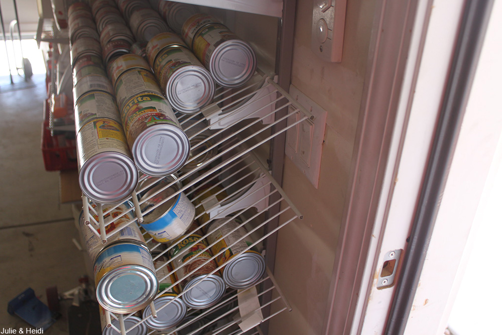 wire rack holding canned goods