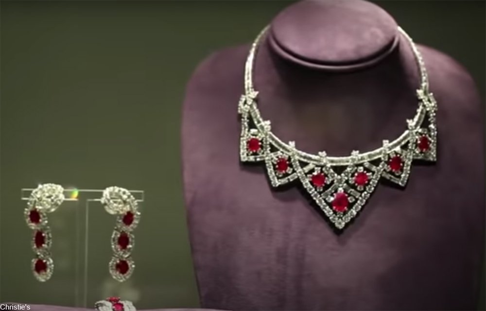 ruby and diamond necklace and earrings given to Elizabeth Taylor by Mike Todd
