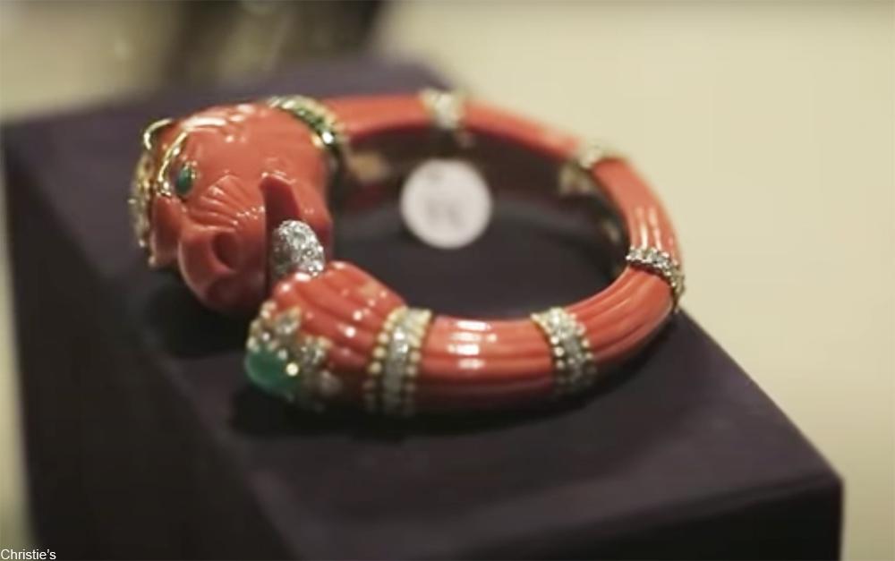 coral, diamond, and emerald bracelet by David Webb.