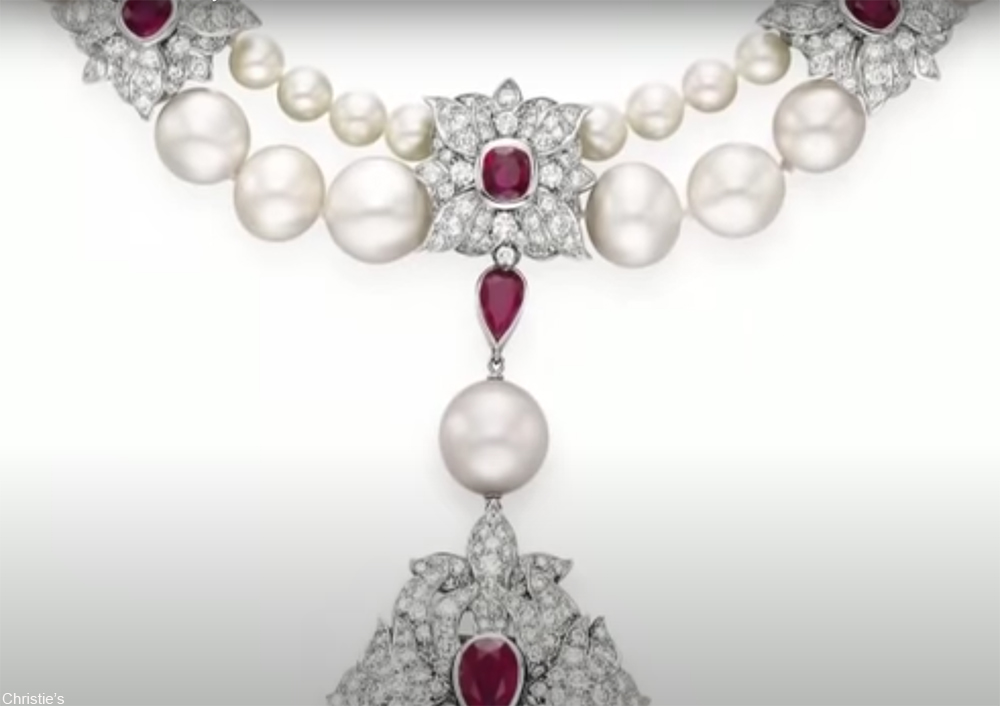 ruby, diamond, and pearl necklace that features a huge pearl once worn by Mary Tudor