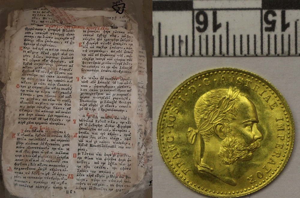 A liturgical book for Orthodox feast days from the 18th century and an antique coin, both intercepted in Romania.