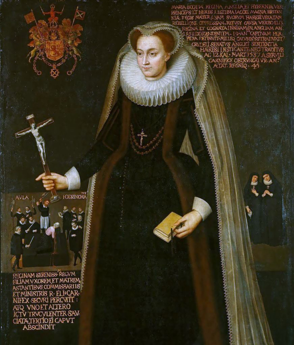 painting of Mary, Queen of Scots, with inset of her execution