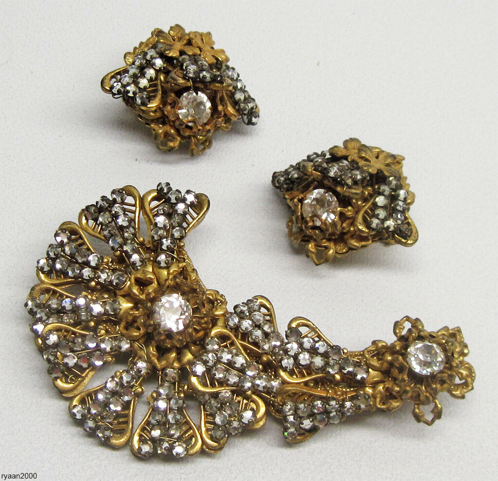 Miriam Haskell rhinestone earrings and brooch