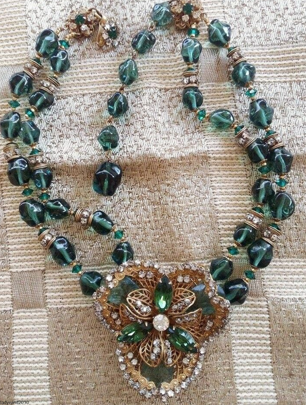 miriam haskell green and gold costume jewelry necklace