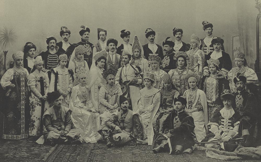 dancers in elaborate dress at the 1903 Bal in St. Petersburg