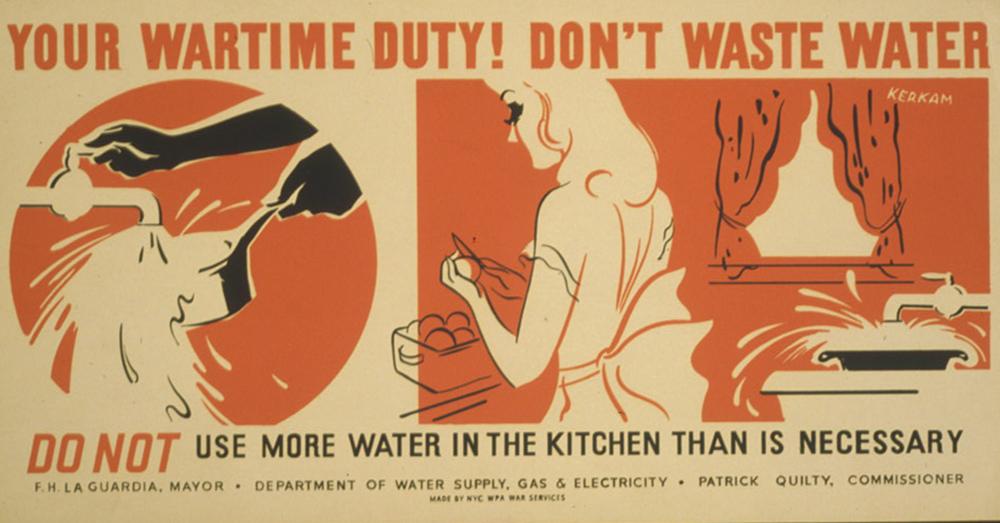 1940s wartime poster on saving water