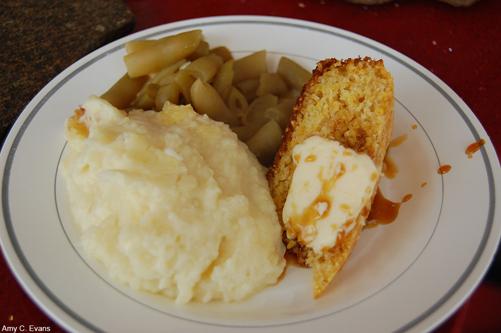 meatless Southern meal of beans, cornbread, and potatoes