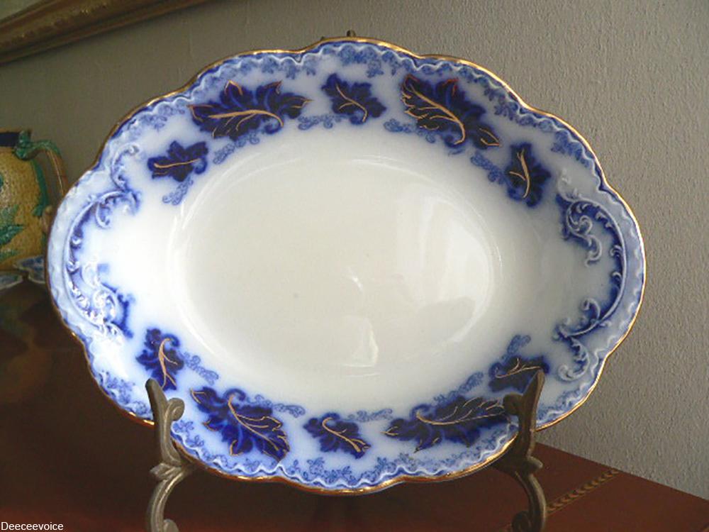 flow blue oval dish