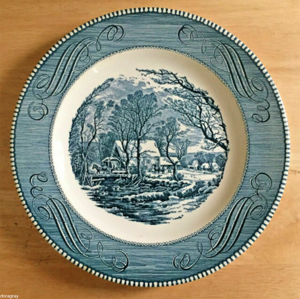 "Royal China ""Old Grist Mill"" Currier and Ives plate"
